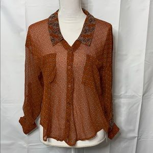 NWT Free People Sheer Blouse Size XS Rust Combo